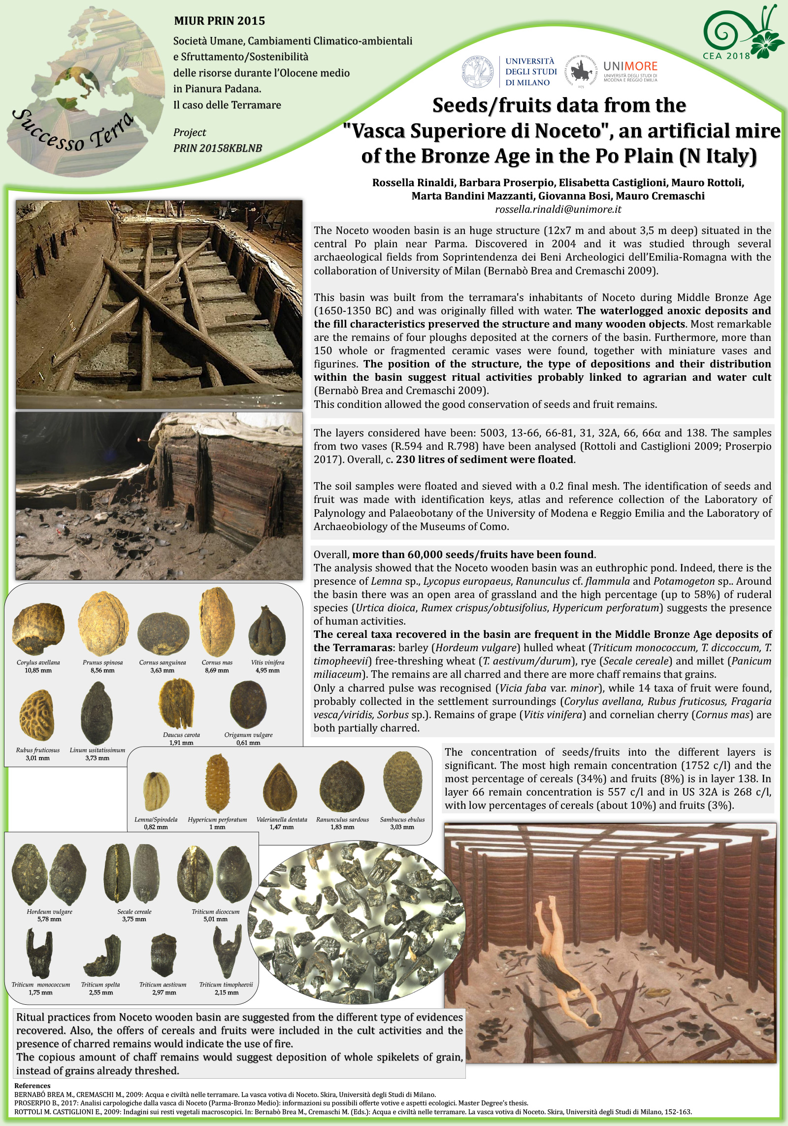 Seeds/fruits data from the 'Vasca Superiore di Noceto' an artificial mire of the Bronze Age in the Po Plain (N Italy)